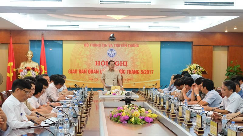 Toàn cảnh Hội nghị giao ban quản lý nhà nước tháng 5/2017 của Bộ TT&TT. Ảnh: Mạnh Hưng