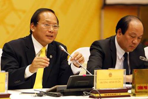 Bộ trưởng Bộ TT&TT Trương Minh Tuấn phát biểu tại buổi họp báo