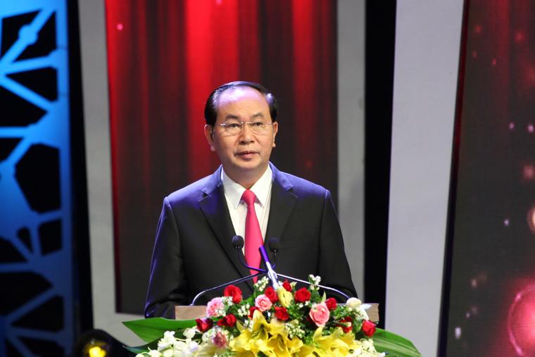 Chủ tịch nước Trần Đại Quang phát biểu tại Lễ trao Giải báo chí Quốc gia lần thứ XI - năm 2016